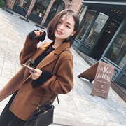 The new manual pure pumpkin Valley double sided cloth short loose wool coat woolen coat MN023