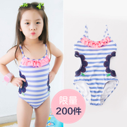 Girls swimsuit 3, children conjoined swimsuit, 4 girls, hollowed flowers, 5 bikini, 6 baby swimming suit, 7 years old