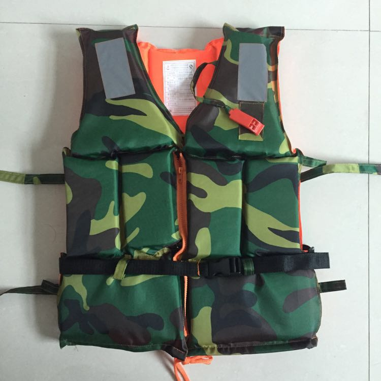 Camo zip buckle thickened work vests foam lifejackets marine life jackets for adults area flood control