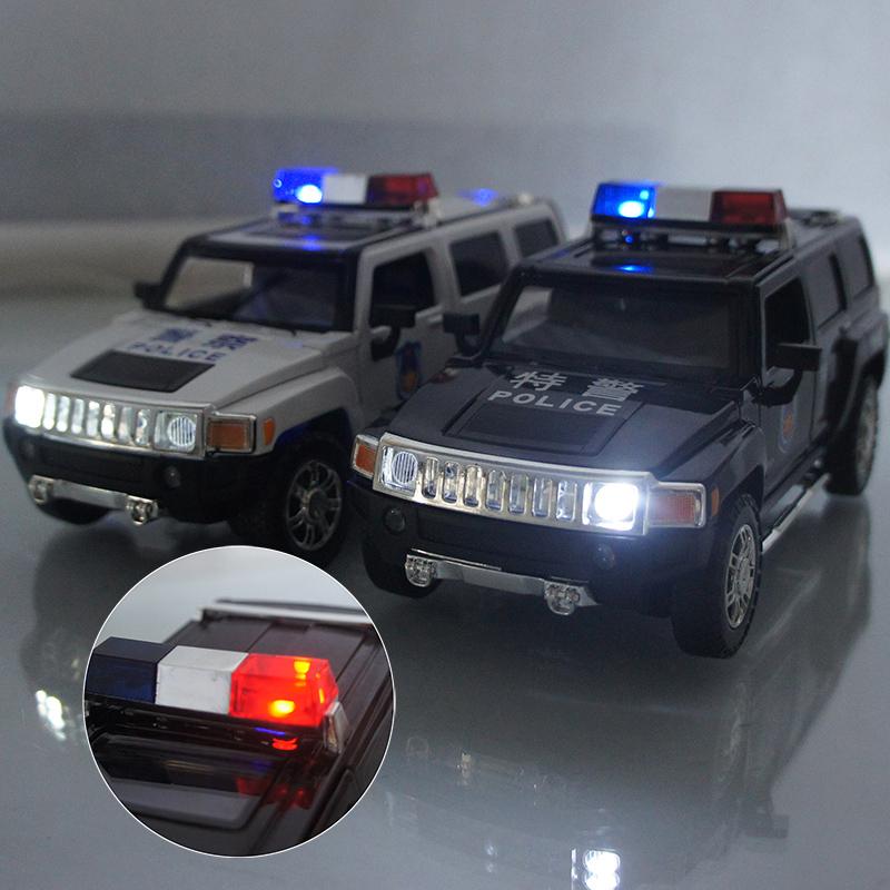 彩珀成真车模1:24 悍马H3 警车越野车合金声光 汽车模型儿童玩具