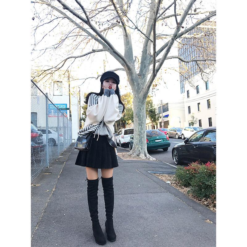 林珊珊 2017秋装新款chic韩版百搭显腿长A字一步百褶黑色半裙短裙