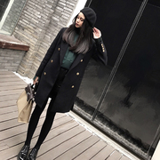 Spring 2017 double breasted wool coat Metal Buckle Black Slim long small suit female woolen coat