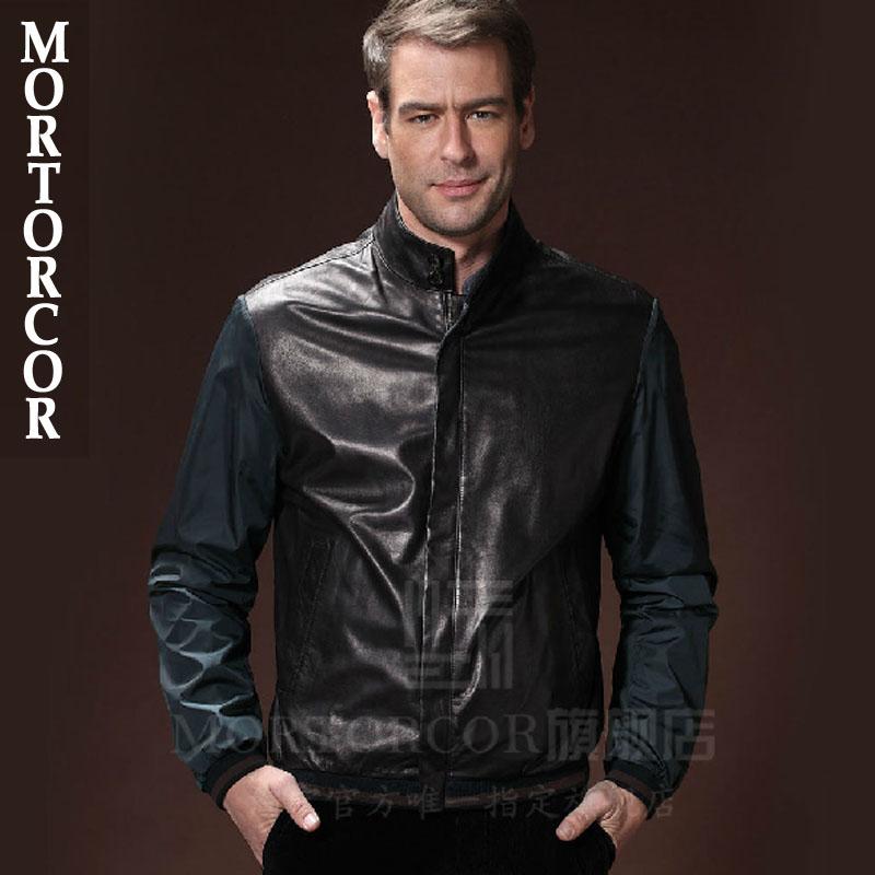 MORTORCOR奢侈品牌男装真皮衣男夹克 拼接商务修身男外套116009
