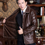 Winter middle-aged plus velvet thick leather big size father loaded winter men's jacket middle-aged men's leather jacket