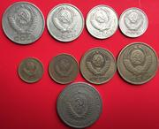 Free shipping Soviet set of 9 coins Russia's post-WWII old coin European foreign coin commemorative coin