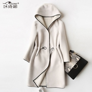 Cashmere wool fur coat fur coat female 2017 new imported Australian lamb fur cap