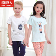 Antarctic Baby Summer Children short sleeve T-shirt shorts seven trousers suit boy girl cotton pajamas
