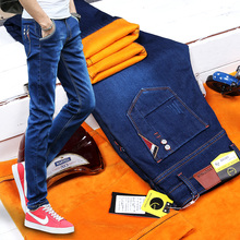 Winter and autumn and winter male cashmere elastic jeans men thickening slim pants trend of Korean slim pants