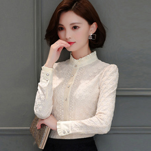 With velvet bottoming shirt lady in autumn and winter clothes new Korean all-match thick warm long sleeved lace shirt tide