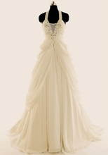 Luxury wedding dress, 2013 new European and American big name, retro chiffon, hang neck, long tail, female Princess Wedding Dress