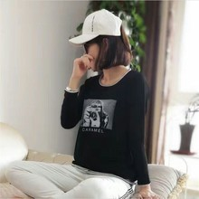 The spring and autumn new T-shirt long sleeve T-shirt coat striped female false two hollow hem shirt