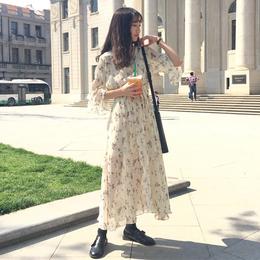 春夏女装韩版气质小清新喇叭袖短袖碎花雪纺连衣裙a字打底裙长裙