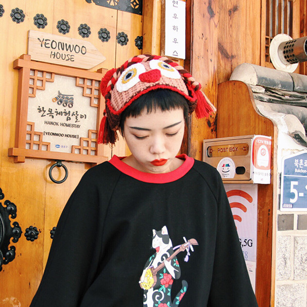 畔喜鱼一原创 女冬天潮秋冬季可爱帽子卡通造型女士毛线针织帽子