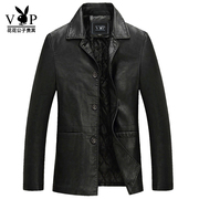Playboy Haining Middle-aged leather leather men's lapel thickening middle-aged sheep leather jacket