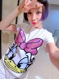2018夏季新款短袖T恤女装chic社会韩版卡通亮片纯棉上衣打底小衫