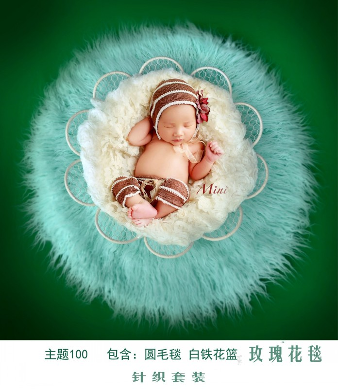 Wooden flowers 2017 new children photography props, newborn baby full moon photo hundred days theme wrapped cloth baby