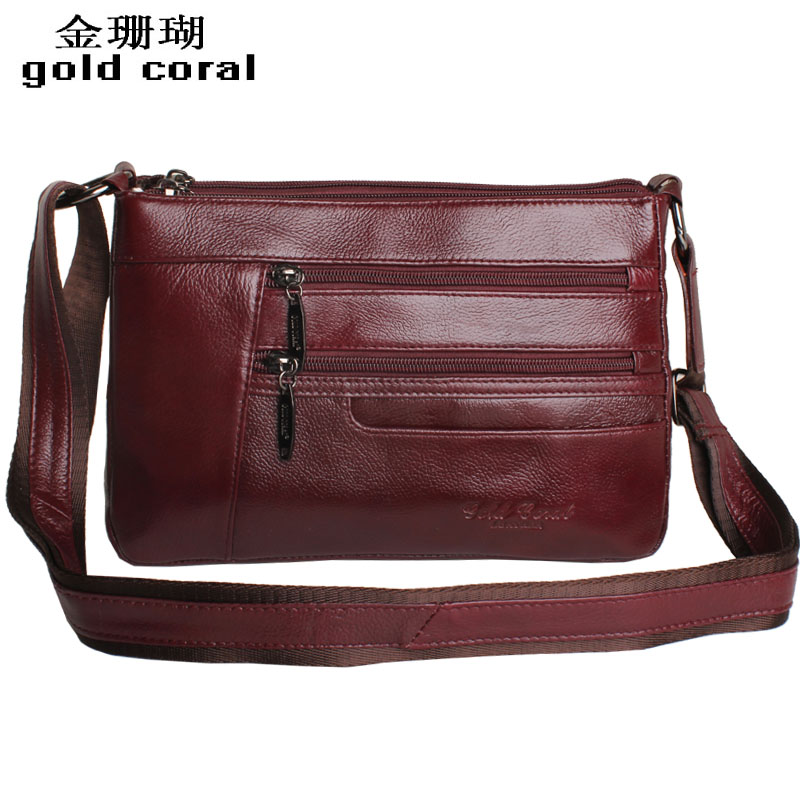 Golden coral Korean Ms 2015 genuine cowhide Crossbody shoulder bag women bags leather leisure handbag boom