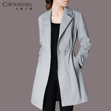2018 spring new women temperament Slim solid color suit collar windbreaker long section casual thin jacket G38