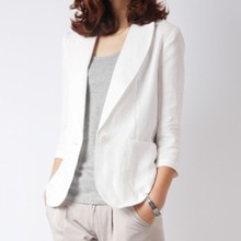 Small suit female Korean version of the short paragraph Slim cotton and wild in the sleeves casual linen flutter sound with the thin section suit jacket