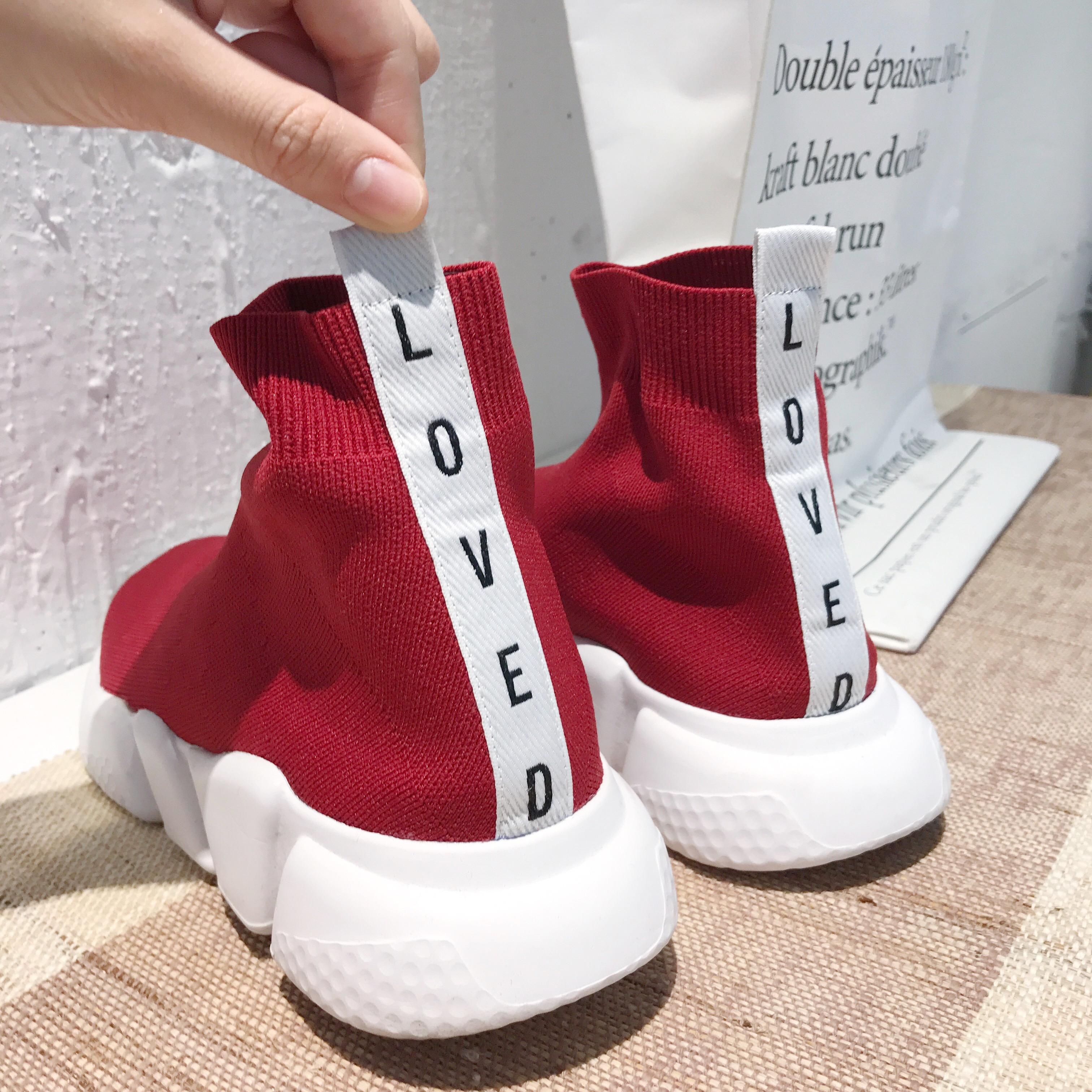 @ZY喜哥 休闲运动鞋情侣鞋靴子女 短靴潮男鞋平底袜靴弹力靴