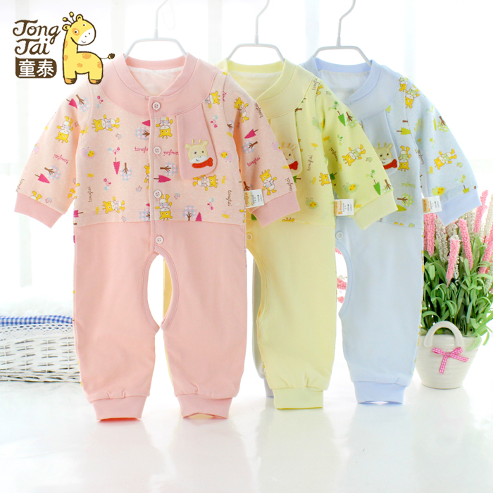 Hold a special offer Tongtie leotard double spring thick clothes baby romper newborn clothes clothes