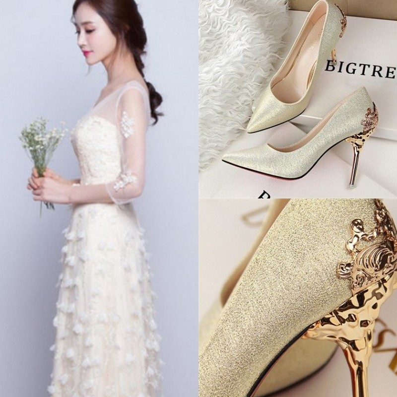 Korean version of 2016, spring and autumn pointed silver high-heeled shoes, sexy fine with the bride, red wedding shoes, golden shallow shoes