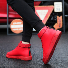 Spring red high shoes men CL hip-hop shoes men's tide casual hip-hop shoes Martin shoes plus velvet warm cotton shoes