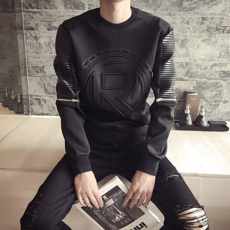 男士长袖T恤韩版卫衣秋装社会精神小伙加绒保暖圆领衣服潮秋衣