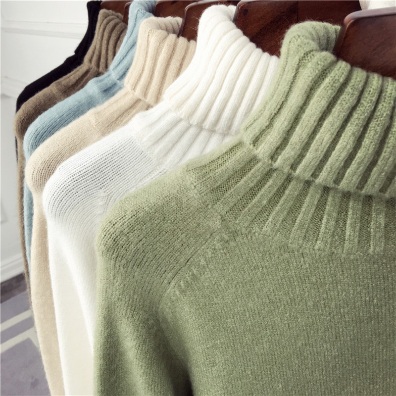 秋冬新款韩版宽松高领毛衣女长袖套头百搭时尚保暖加厚打底针织衫