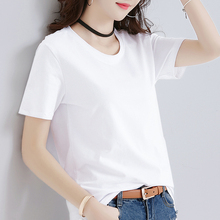 Summer white T-shirt female short-sleeved loose large size Korean compassionate pure cotton half-sleeved shirt 2018 new black