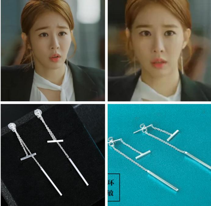 鬼怪刘仁娜同款耳环耳钉耳饰耳坠流苏气质韩国简约时尚925银
