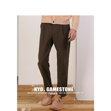 Silk blended casual trousers men's SILK COTTON CASUAL PANTS autumn belt straight barrel men's trousers