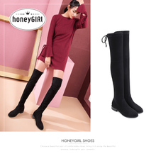 HoneyGIRL new winter boots shoes with elastic thick boots boots a female knee boots