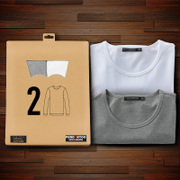 2 Modal men's long-sleeved t-shirt thin solid color round neck autumn clothes white Slim autumn clothes primer shirt