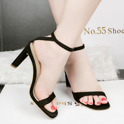 Han edition 2017 summer fashion peep-toe high-heeled sandals light mouth word simple sandals, thick with sexy female sandals
