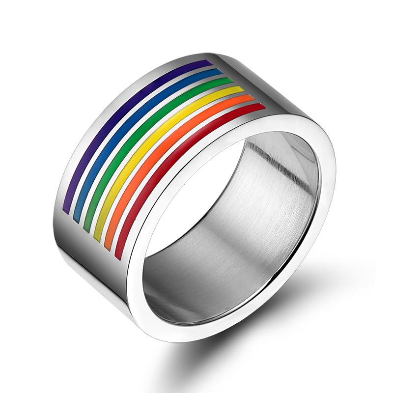 【包邮】厂家直销 大气不锈钢彩虹旗戒指 拉拉/同志戒指 外贸