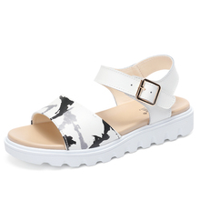 2017 new summer sandals leather shoes with flat all-match Korean students slip wedge sandals