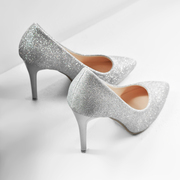 With a fine silver high heels gold glitter frosted in documentary shoes sexy fashion nightclub work wedding shoes