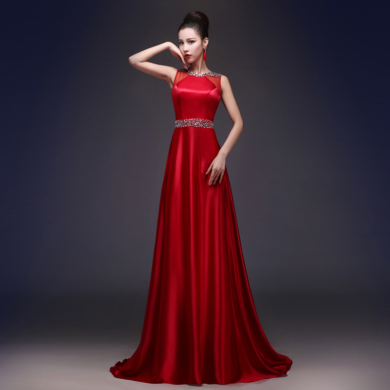 Red toast dress brides tuxedo tuxedo tuxedo women Long Satin banquet 2017 women