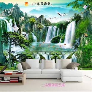3d立体风景画电视背景墙布壁纸5d壁画流水生财旭日东升山水画墙纸