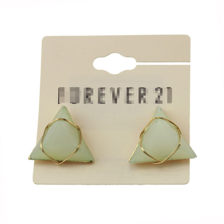 润发外贸饰品欧美时尚潮流几何体三角形夸张女款耳钉