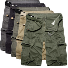 Men's Washed Cotton cargo shorts casual short pants for Male
