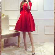 2017 Winter brides toast pregnant women high waist wedding dress red short bi party back evening gown autumn and winter