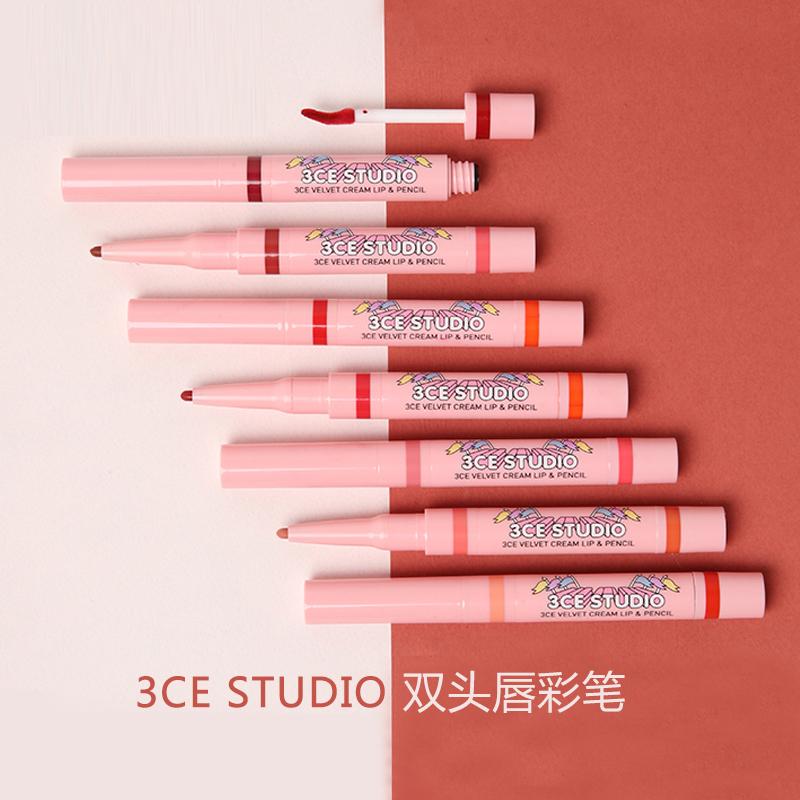 韩国3CE STUDIO二合一双头唇彩笔 渐变唇妆 唇膏笔 现货 包邮