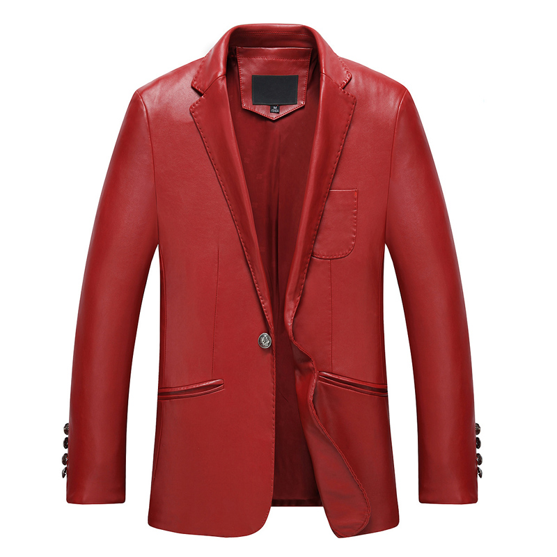 The new spring Haining men's Leather Slim leather suit business casual men's leather Kepi suit jacket men