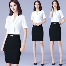 2018 summer short sleeves, white shirts, fashion interview, formal dress, V collar, business uniforms, professional women.