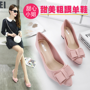 Coarse shoes winter 2016 new documentary spring drizzle with Korean BELLE heels all-match shoes