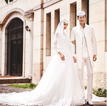 Custom tailored wedding dress wedding dress Muslim long sleeved lace wedding dress Hui Uygur