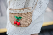 Sweetcity children's clothing custom new early holiday wind handmade cherry oblique cross bag