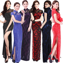Vintage modified long toast bride Tang suit dress lace sexy nightclub girls sequin dress summer dresses